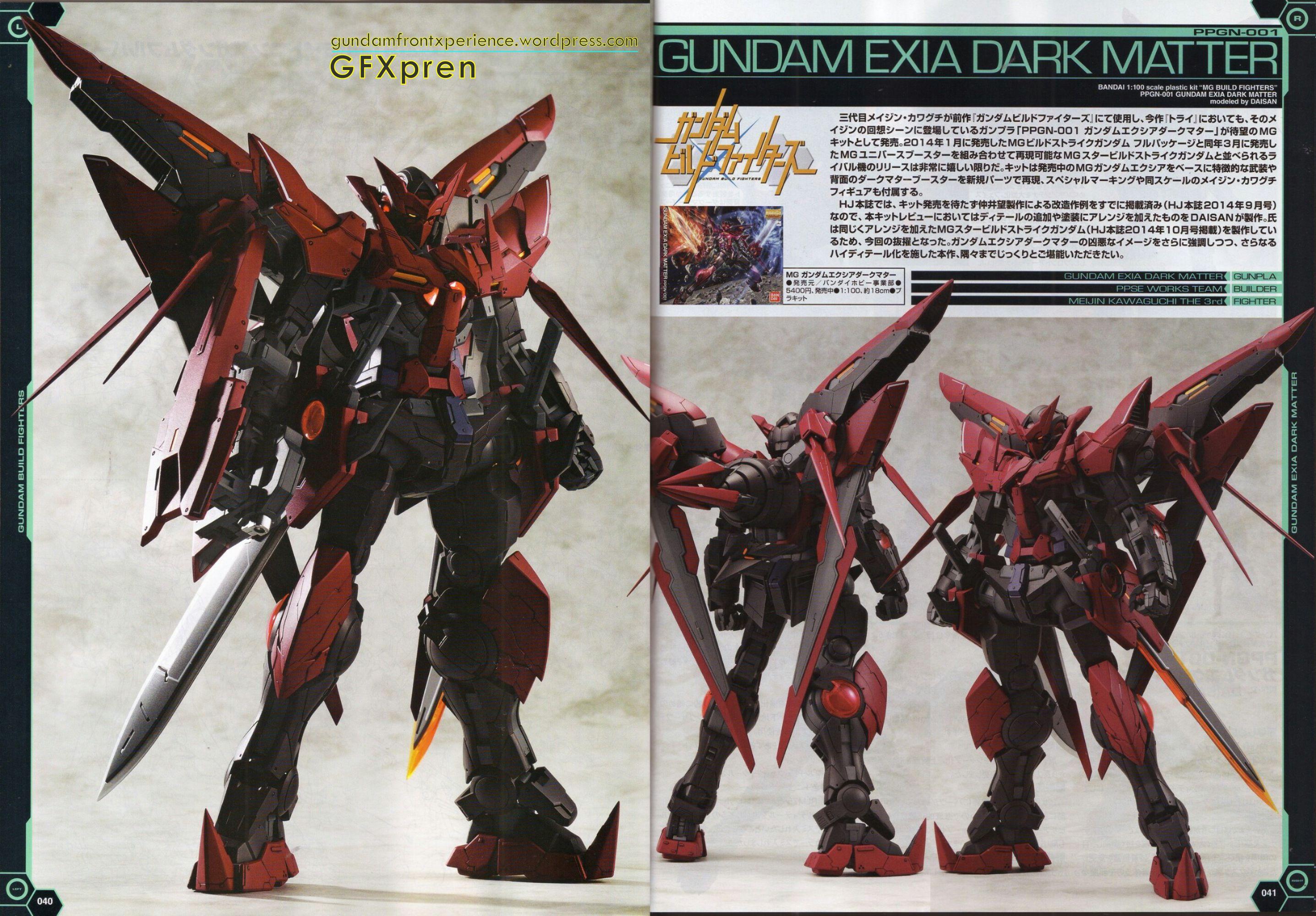 BANDAI MG 1//100 Gundam Exia Dark Matter Plastic Kit Gundam Build Fighters